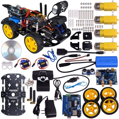 Kuman Wi-fi Robot Car Kit for Arduino, 4 Wheel Utility Vehicle Wifi Intelligent Robotics Ds Robot Hd Camera Wireless Robot Smart Car Kit 7.4V SM3