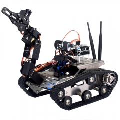 Kuman Arduino Project Smart Wifi HD Video Robot Car Tank Kit with Arm Controlled via PC Software iOS Android APP SM5-1